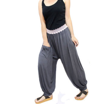 SALE/ Grey sweat harem pants urban casual, sarouel, drop crotch pants, baggy pants, cool pant, greay bloomers, boho style pants