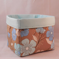 Pretty Aqua and Brown Floral Fabric Basket For Storage Or Gift Giving