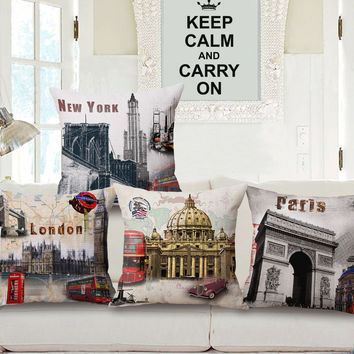 New York London Paris Travel Theme Cushion Covers for Vintage Lovers Home Décor