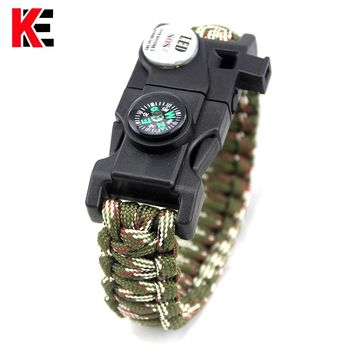 Outdoor EDC Tool Survival Bracelet With SOS LED Light Camping Paracord Rope Multifunctional Survival Whistle Compass Bracelet
