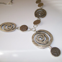 SILVER SWIRL STATEMENT Necklace, Unique Necklace and Earring Set Swirls and Discs Connected, Jewelry Gift Set