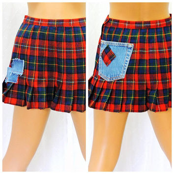 Vintage 70s Pendleton tartan wool mini skirt XS S grunge punk upcycled 1970s Boyds Tartan red plaid school girl skirt