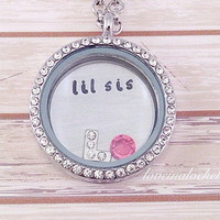 Little Sister Necklace, Little Sis Locket, Floating Locket, Personalized Sister Gift, Lil Sis Locket, Little Sister Christmas Gift, Sisters