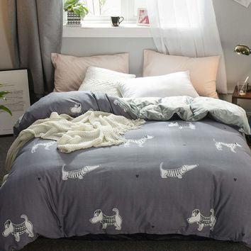 Grey Dog Print Duvet Cover 1PC