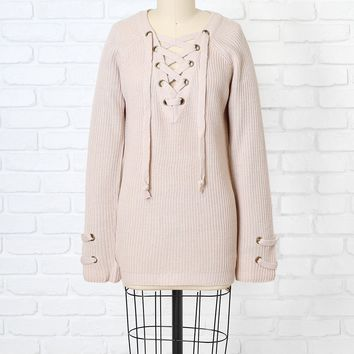 Pale Pink Lace-Up Sweater