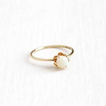 Antique 14k Yellow Gold Opal Solitaire Ring - Edwardian Round Gemstone Size 7 Stick P