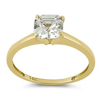 14K Yellow Gold 1.69CT Asscher Cut Solitaire Russian Lab Diamond Ring