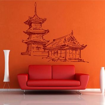 ik2479 Wall Decal Sticker Japanese temple house living room bedroom