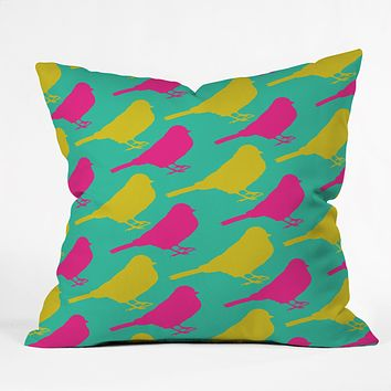 Allyson Johnson Bright Birdies Throw Pillow