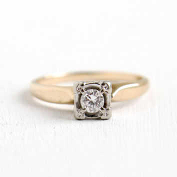 Vintage 14k Yellow & White Gold .15 Carat Diamond Ring - 1940s Mid-Century Size 7 Two Tone Solitaire Wedding Engagement Jewelry