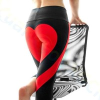 80pcs lady  Elastic Yoga Outfits Fitness Workout pants elastic tights sport Gym Clothing running hip pants heart leggings