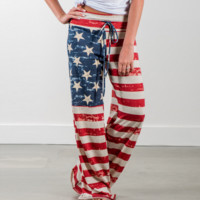 American flag drawstring long & lightweight sweat pants  ~ Plus size available