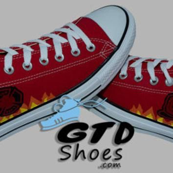 Hand Painted Converse Low. Firefighters, Fire Station, Fire Depot. Handpainted shoes.