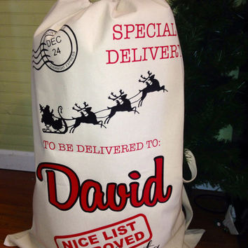 "Custom Personalized Santa Sack/Bag- Large 33""x22"" Heavy Duty Canvas"