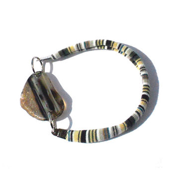 Friendship fabric bracelet with brown agate one of a kind - Bfriends collection - FREE SHIPPING