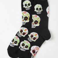 Quirky Wake Up Calavera Socks Size OS by ModCloth