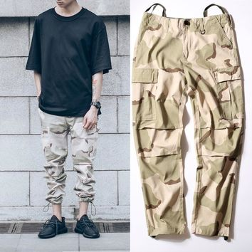auguau military urban hiphop clothing overalls men kanye west fashion yezzy joggers