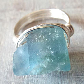 Raw Fluorite Ring, Raw Stone Ring, Fluorite Jewelry, Boho Rings, Wire Wrapped Ring, Green Stone Ring, Blue Fluorite Ring, Green Fluorite