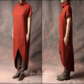 Original Design Red,Black,Grey Swallowtail Loose Stretch Cotton WoolBlend Theatrical Kaftan Dress