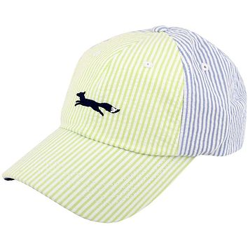 Longshanks Seersucker Trucker Hat in Lime and Light Blue by Country Club Prep - FINAL SALE