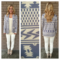 Periwinkle & Cream Tribal Cardigan