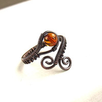 Amber copper ring, natural gemstone ring, antiqued rustic handmade wrapped  jewelry
