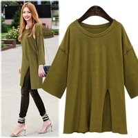Women's Fashion Split Autumn Long Sleeve T-shirts [9150485511]
