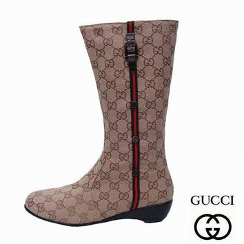 GUCCI Women Fashion High Boot Flats Shoes-1
