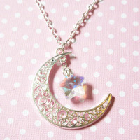 Moon and Star Necklace, Moon and AB Cyrstal Star Charm Necklace, Celestial Moon Necklace