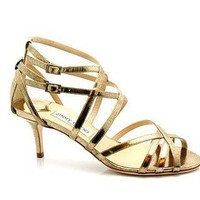 Jimmy Choo Fitzroy Vintage Gold Strappy Sandals - $210.00