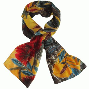 Orange Pohutukawa Silk Scarf