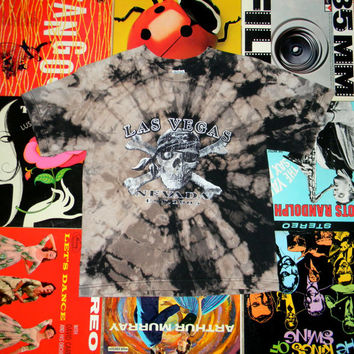 Handmade Bleach Tie Dye T Shirt - ooak LAS VEGAS Nevada Tie Dyed TShirt. One of a Kind. Tourist Memorabilia. Size Youth L Large. Womens S.