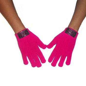 SALE! Bright Pink Gloves Knitted Wool Winter Fashion Accessories with Faux Crystal Gems Strip