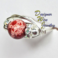 DWJ0144 Natural Red Sea Sediment Solitaire Wire Wrap Ring All Sizes