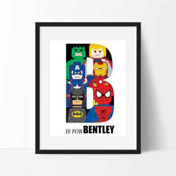 Lego Superhero Personalized Art Print - Superhero Wall Art - Nursery Art - Children's Wall Art - Name Initial Art - Personalized Kids Art