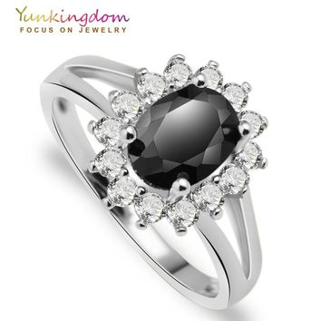 Classic wedding rings for women fashion flower black cubic zirconia rings