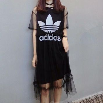 DCCK6HW Adidas' Fashion Casual Clover Letter Print Short Sleeve Gauze Dress