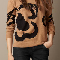 Flower Intarsia Wool Cashmere Sweater
