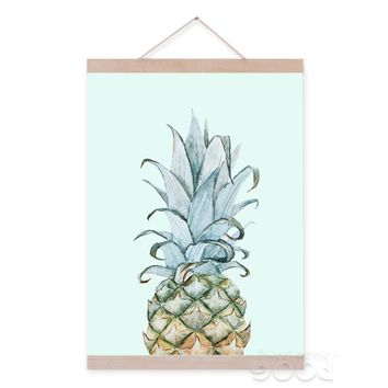 Watercolor pineapple Canvas Art Print Painting Poster