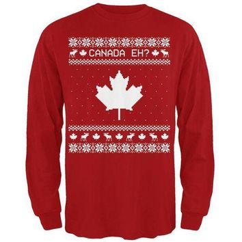 PEAPGQ9 Canadian Canada Eh Ugly Christmas Sweater Mens Long Sleeve T Shirt