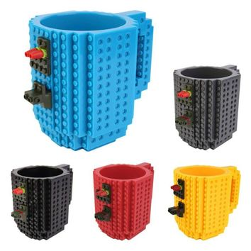 Creative DIY Build-on Brick Mug Style Puzzle Cup Building Blocks Water Bottle Frozen Coffee Cup Christmas toy Mug gift Hot New