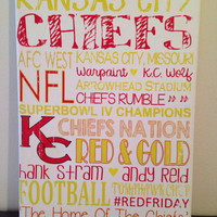 Subway Art - Kansas City Chiefs. NFL. Football 'Rustic' Looking Canvas