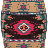 Knitted Aztec Mini Skirt - Skirts  - Clothing