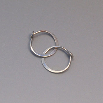 14k White Gold Hoops, Half Inch Minimalist Polished Solid White Gold, Tiny Hoop Earings, 12 mm Everyday Sleepers with Locking Clasp