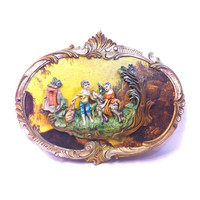 Vintage Italian Wall Plaque Romantic Couple Courting Couple 3D Wall Plaque Resin Figurine Italian Decor Oval Ornate Frame Rococo Italy Art