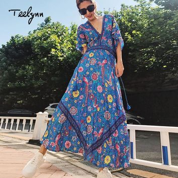 2787cc27f292 TEELYNN Boho dress sexy V-neck tassel short sleeve women dresses