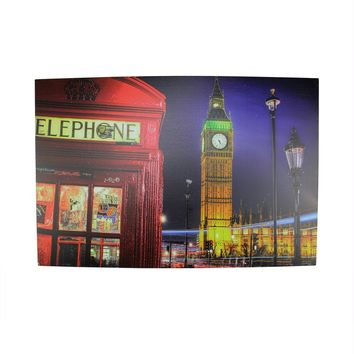 """LED Lighted Famous Big Ben and Red Telephone Box London Canvas Wall Art 15.75"""" x 23.5"""""""