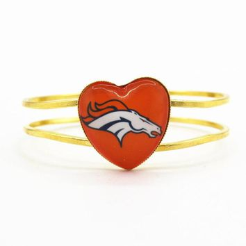 New fashion heart alloy bracelet football sports team Denver Broncos charms bracelets jewelry for sports fan gift