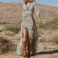 BohemianFloral Split Long Maxi Sundress