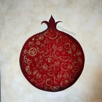 Pomegranate painting, Persian pomegranate, shabe yalda, yalda night, norooz gift, nowruz, yalda night, iranian painting, Persian art